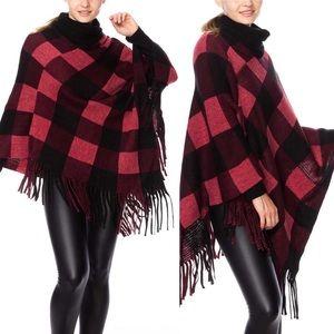 Plaid Poncho Sweater Fringe Hem OSFM